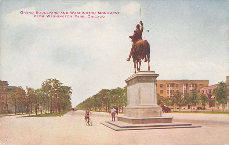 Grand boulevard and washington monument from washington park chicago